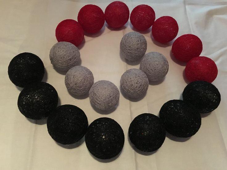 Black red grey We ❤️ it ! MOSCA #Cotton ball  Handmade