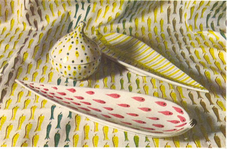 Stig Lindberg fabric and ceramics
