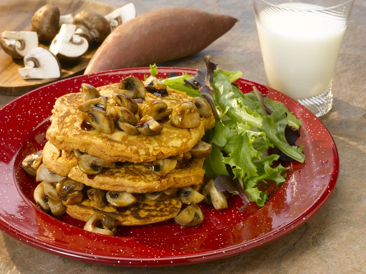 Savory sautéed mushrooms top mashed sweet potato pancakes for a delicious breakfast, brunch or dinner dish #MightyMushrooms