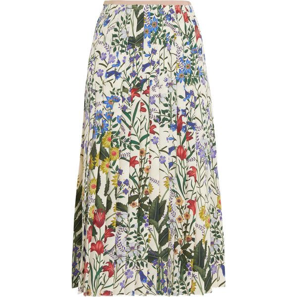 Gucci Pleated floral-print silk-crepe midi skirt found on Polyvore featuring skirts, floral print skirt, multi color skirt, floral skirt, knee length pleated skirt and midi skirt