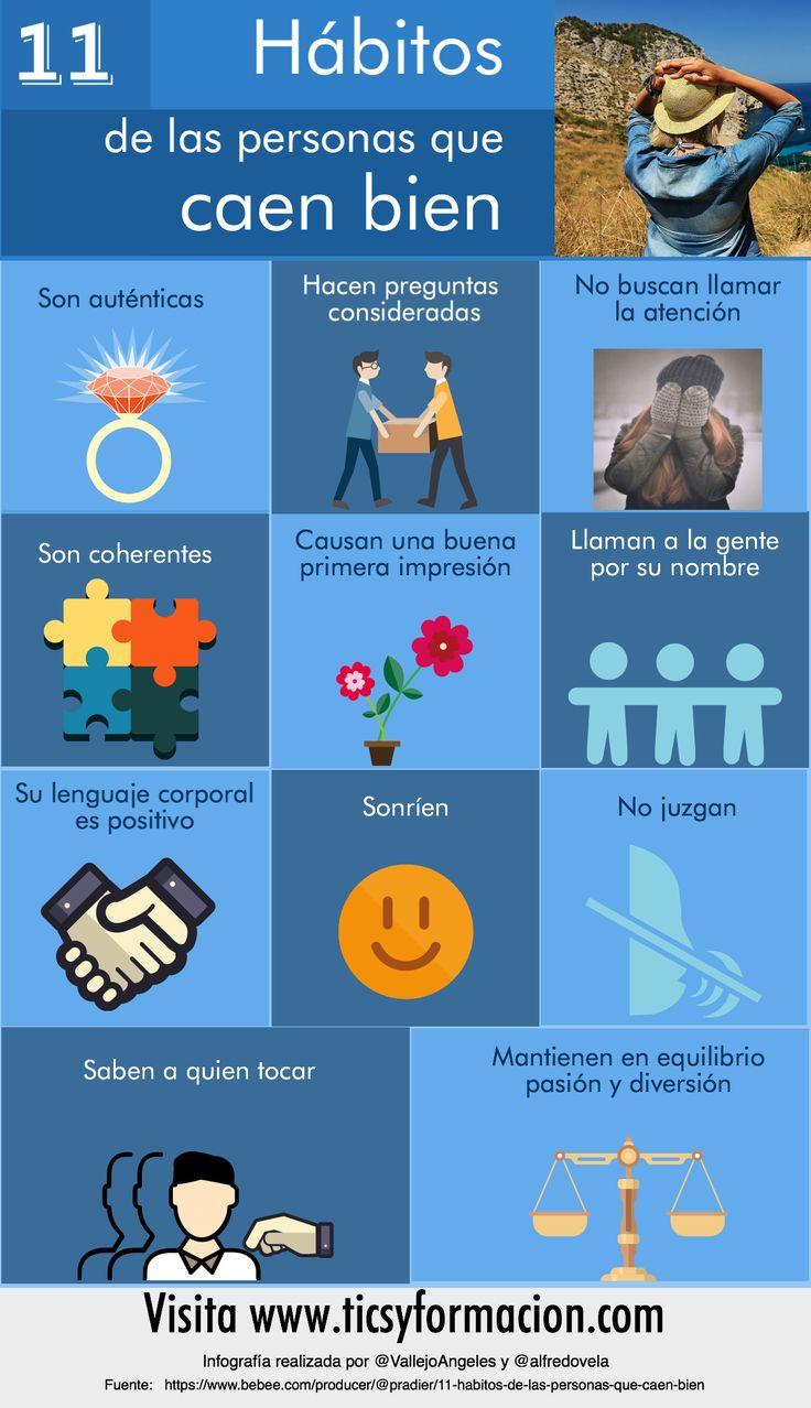 Hola: Una infografía con11 hábitos de las personas que caen bien. Un saludo