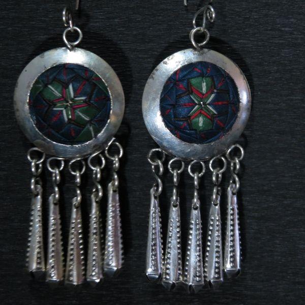 Boucle d'oreille argent tibetain
