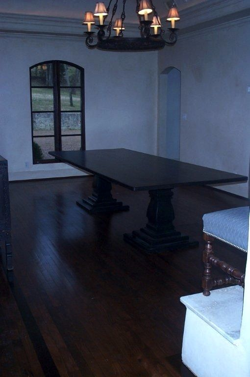 12ft Large Dining Table With 2 Pedestal Tiered Base In