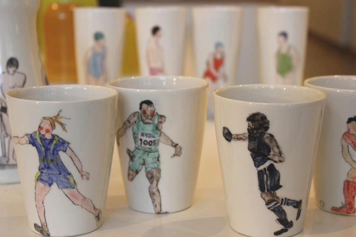 These lovely and rather apt sporting beakers by Helen Beard have just arrived upstairs at Contemporary Ceramics!