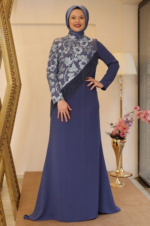 فستان سهرة أزرق طويل مزخرف نسائي Dresses Fashion Product Description