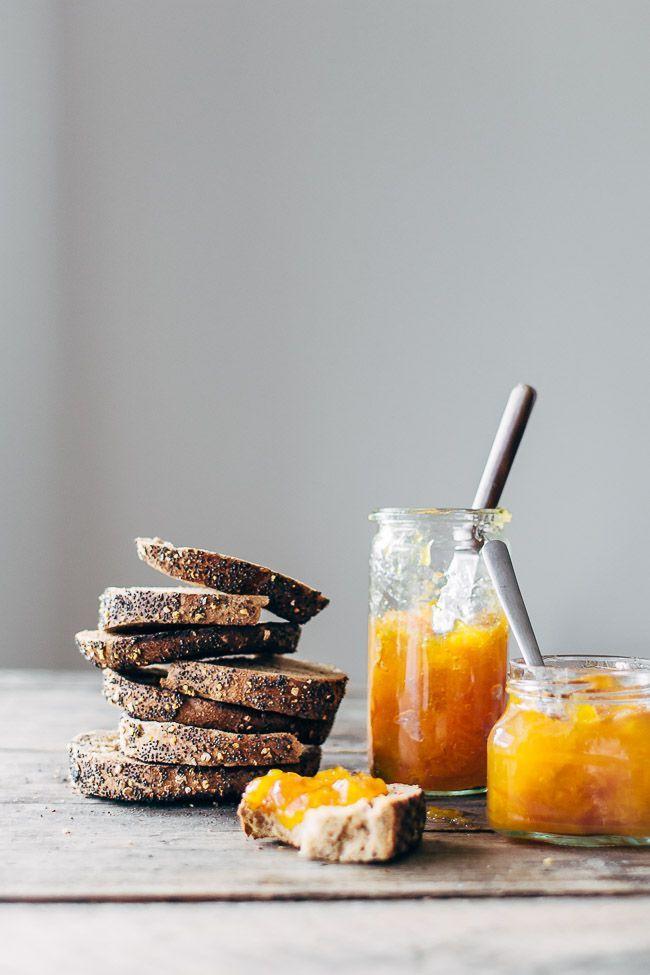 Homemade jam with apricot and lemon. /