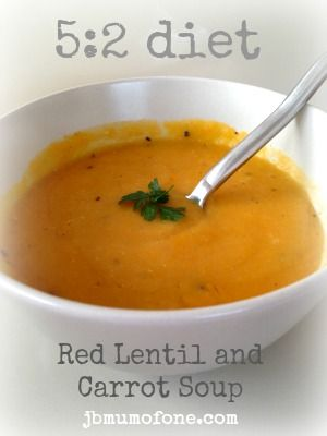 Hearty red lentil and carrot soup for #5:2diet lunch. Delicious too!