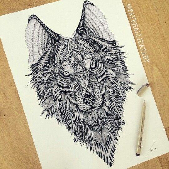 Tribal Wolf tattoo idea