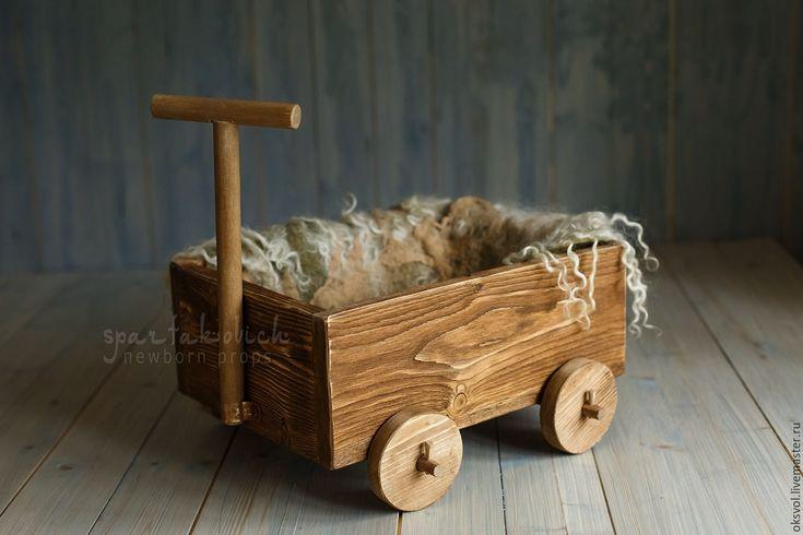 Купить Тележка/ Вагончик/ящик д/съемки новорожденных / реквизит для съемки - комбинированный, ящик, винтаж, древесина