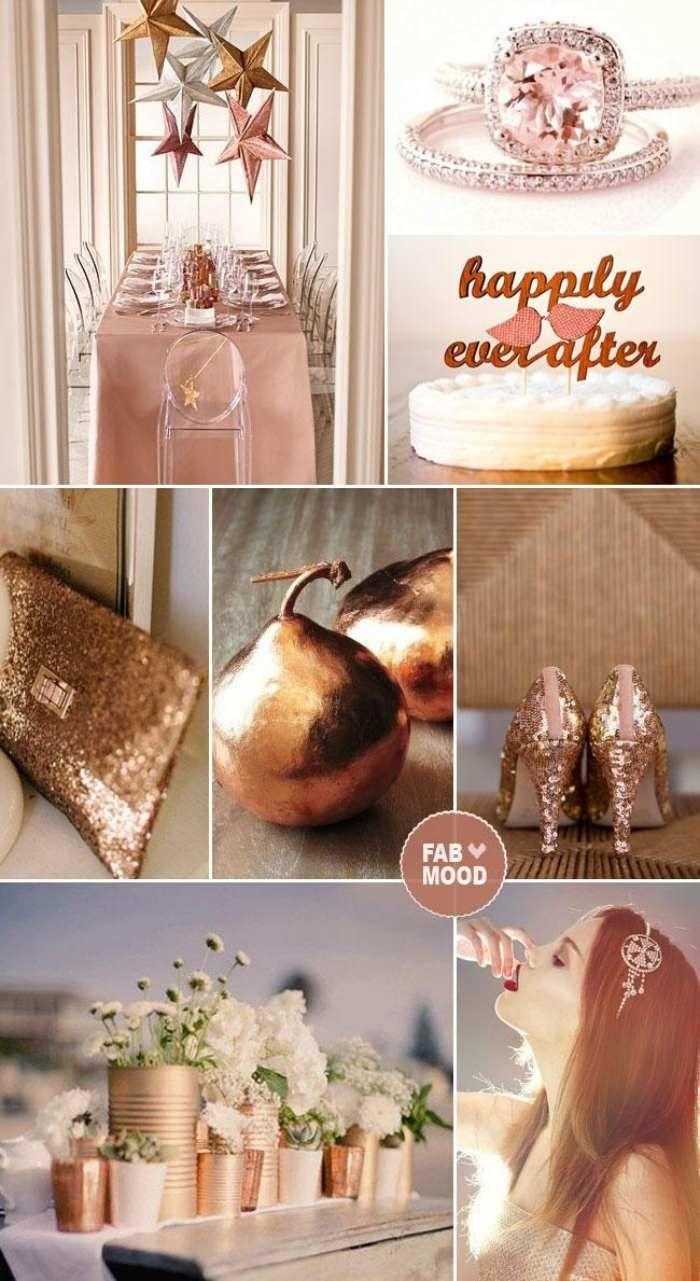 Hochzeit Im Herbst Kupfer Und Rosa Farben Kombination Deko Ideen