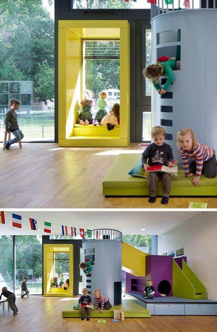 Colorful window seat surrounds can bring an element of fun into your interior too, as seen here where kids are enjoying the bright yellow window seat in their kindergarten classroom.