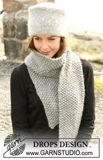 """The set consist of: Felted DROPS hat and a DROPS scarf knitted in moss sts with""""Eskimo"""". ~ DROPS Design"""