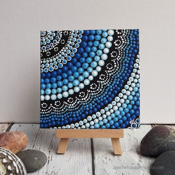 Acrylic paint on canvas board, Dot Painting, small Original painting, Aboriginal Art, Water Art Design, blue decor, 10cm x 10cm