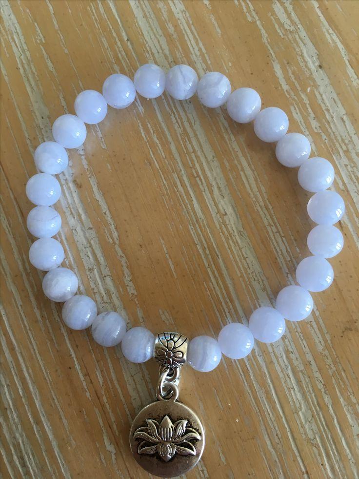 Blue Lace Agate, 6mm bead bracelet