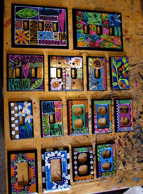 Laurie Miller Designs - Designed with Heart. . .Dazzled by Hand.: Switch Plate Covers can make your room very colorful!!