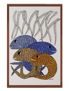 Multi-Color Framed Gond Wall Art 15in x 11in