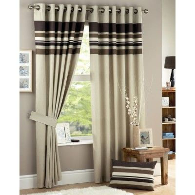 Harvard Ready Made Curtains Chocolate    Contemporary Eyelet Heading  Fully Lined Curtains  Modern Striped Design  Matching Tie Backs Available