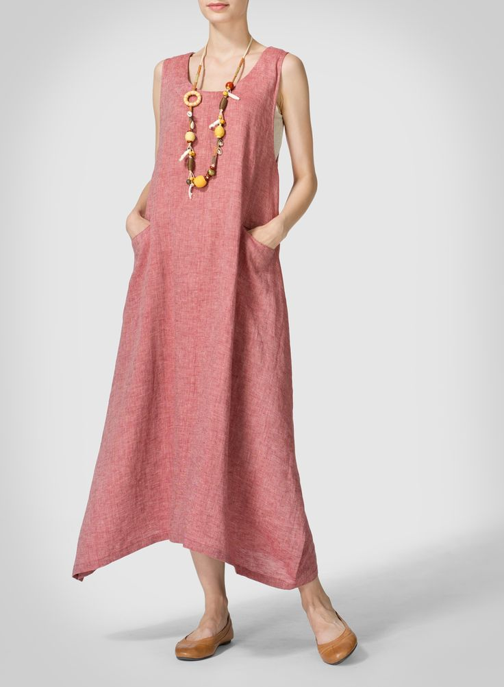 Linen Sleeveless Long Dress - Clean details with a longer length asymmetrical hem give this sexy sleeveless dress some stylish edge. Button up to the back for a more luxury style.