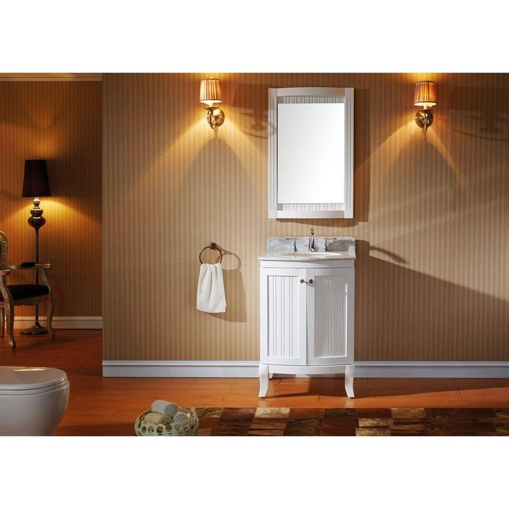Virtu USA Khaleesi 24 in. Vanity in Antique White with Marble Vanity Top in Italian Carrara White and Mirror-ES-52024-WMRO-WH - The Home Depot
