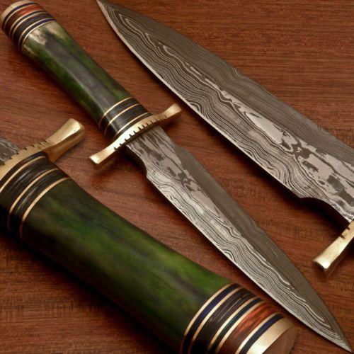 An Exquisite RARE Custom Hand Damascus Art Dagger Knife Stained Bone NT 66 | eBay