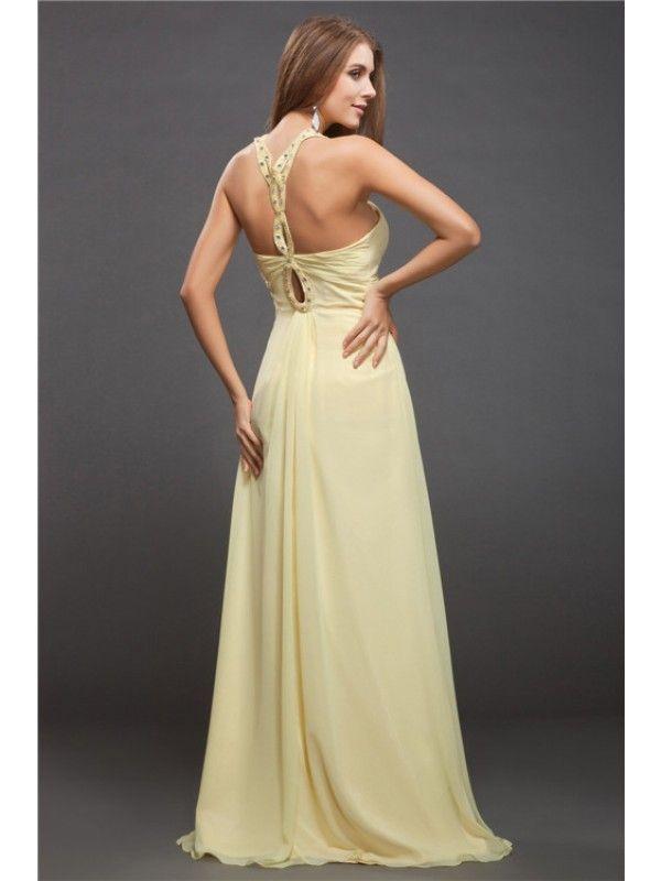 40b8cdeab765 Sheath/Column Halter Beading Sleeveless Long Chiffon Dresses - Prom Dresses  - Hebeos Online