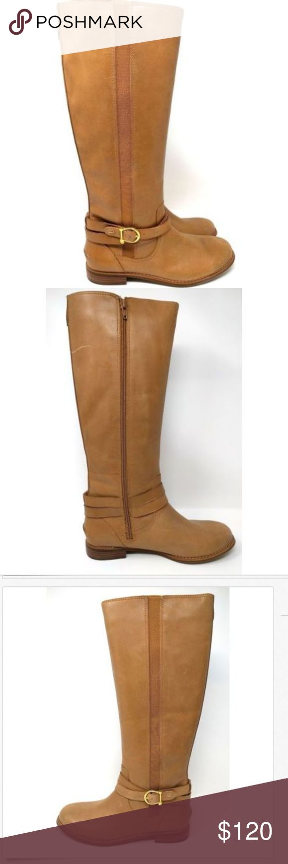 """SPERRY TOP-SIDER 8 Tall Cedar Riding Boot NEW SPERRY TOP-SIDER 8 Tall Cedar Riding Boot Elasic Gore Insert Cognac Leather NEW Nordstrom Rack clearance shoes have been tried on in store and have surface scratches.  Leather. Synthetic sole. Shaft measures approximately 16"""" from arch. Heel measures approximately 1"""". Boot opening measures approximately 15"""" around. Riding boot with polished buckle and full-length goring insert at side. Full-length instep zipper. Sperry Shoes Heeled Boots"""