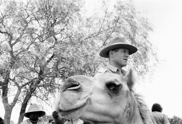 Constable Ron Brown about to leave Finke Police Station for his annual camel patrol of the NT, 20 January, 1949. Here , he's shown in sand dune country, typical of his beat. A Northern Territory policeman was Warden of Mines, Registrar of Births, Deaths and Marriages, Collector of Public Monies, and Inspector of Stock and Protector of Aborigines.                                         	Photo Credit: National Archives of Australia