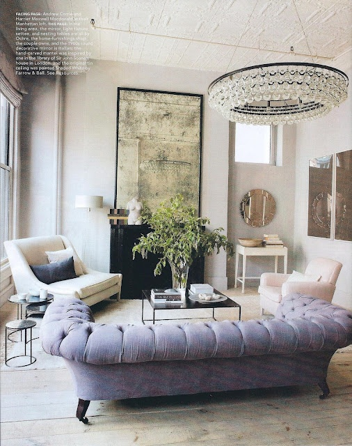 Remarkable light fixture, lavender sofa and antiqued mirror: Mirror, Purple Couch, Idea, Living Rooms, Lights Fixtures, Color, Interiors Design, House, Chesterfield Sofas