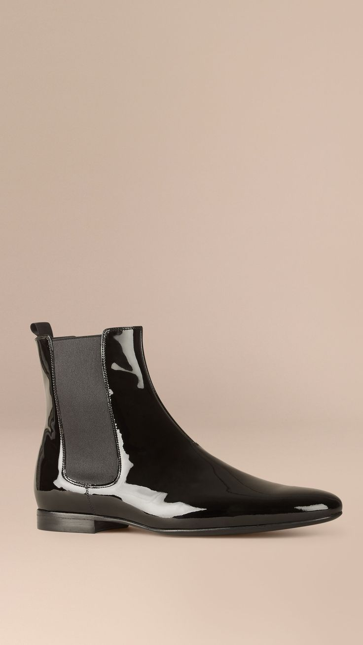 Patent Leather Chelsea Boots Black   Burberry