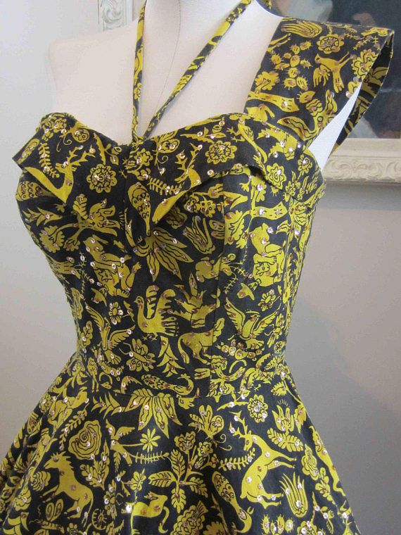 Vintage 50's Mexican Halter Dress with Novelty Print and