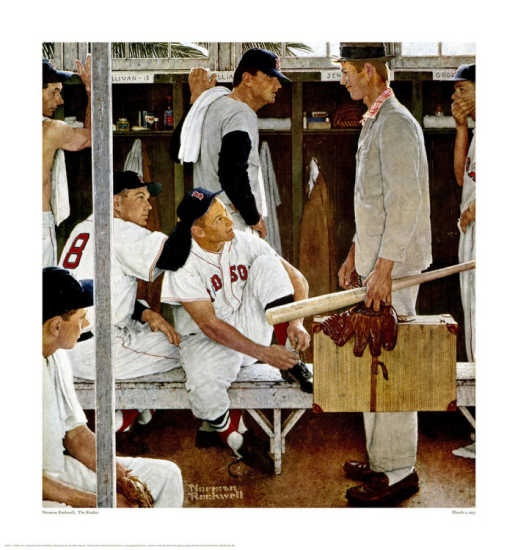 "Norman Rockwell ""The Rookie""Lockers Room, Rockwell Art, Artists Norman, Baseball, Norman Rockwell, Redsox, Painting, Rookie, Boston Red Sox"