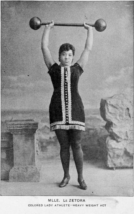 Mlle. LeZetora - strong woman, ca. 1900