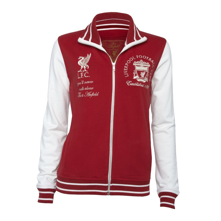 Falkner Zip Thru   Vintage red and chalk zip thru sweat with striped trims. Chalk crest embroidery left chest and chalk bird and script embroideries right chest. L4 - LFC chalk collar embroidery and red velvet and herringbone bound back neck with vintage patch back neck label. £45