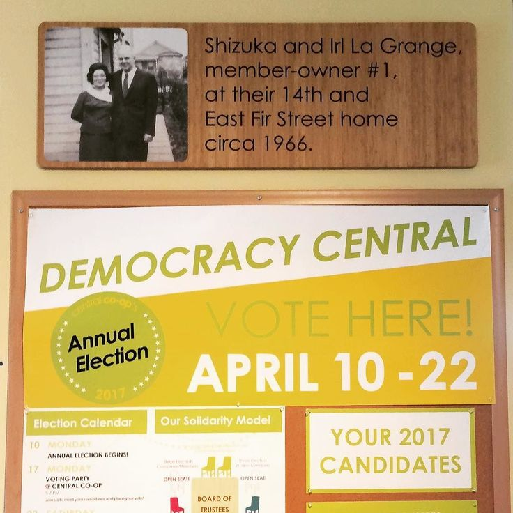 Central Co-op Owners: Cooperative Principle 2 is Democratic Member Governance. Our co-op is what it is today because of the participation of our members starting with member-owner #1 Irl La Grange. He and his wife Shizuka now gaze down upon Democracy Central where you can learn about the election and cast your vote. Follow in Irls footsteps and keep your co-op strong by voting in the store by mail or online by Saturday April 22 or at our Annual Owner Meeting & Maker Celebration on Sunday…