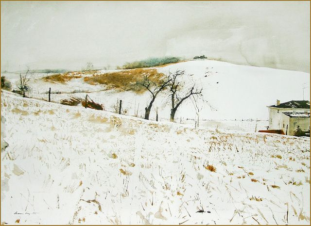 Andrew Wyeth Watercolor Paintings   fence line 1967 by andrew wyeth watercolor on paper andrew wyeth ...this may be Angie and Richard's road....