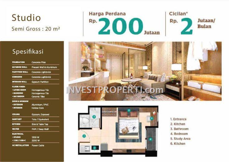 Tipe Studio apartemen Serpong Garden Cisauk.
