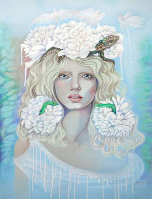 June Fairy/ Colored Pencils, Combination Technique / 19.5 x 25 in #art #fairies #colorpencils