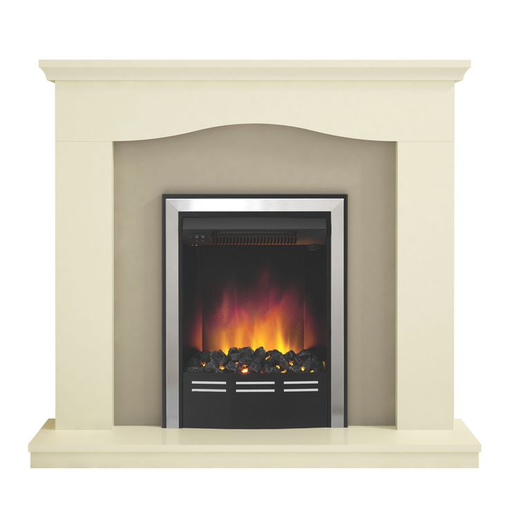 Be Modern Penelope Soft White & Suede LED Inset Electric Fire Suite   Departments   DIY at B&Q