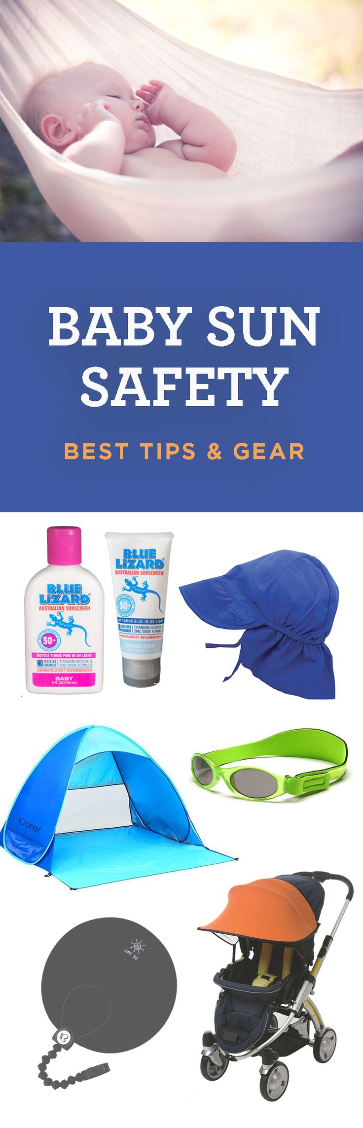 Amazing tips on how to protect your baby from the sun. Includes sunscreen know-how, stroller shades, UV clothing and hats they can't toss. If you have a newborn this summer, definitely check it out!