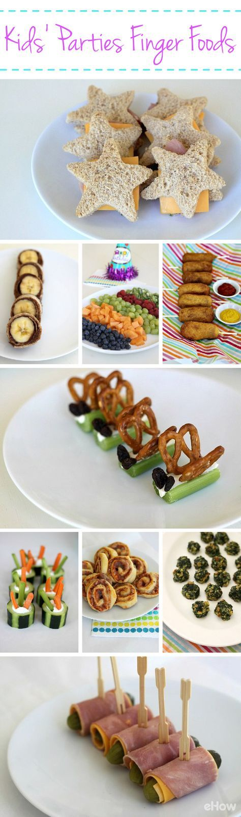 Kids will love these easy finger foods at every party! Nutella banana wraps (a.k.a banana-nutella sushi), mini corn dogs, star cheese and ham sandwiches, and pickle roll-ups. More ideas here: http://www.ehow.com/facts_5175954_finger-foods-kids_-parties.html?utm_source=pinterest.com&utm_medium=referral&utm_content=freestyle&utm_campaign=fanpage