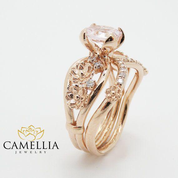 14K Rose Gold Morganite Wedding Set Wedding by CamelliaJewelry