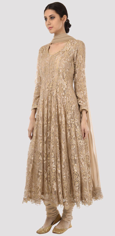 Beige-Gold Lace Anarkali Suit With Dupatta