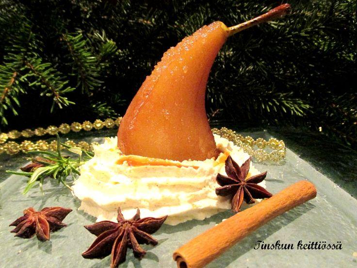 Tinskun keittiössä: Glögipäärynät ja piparkakkukermaa