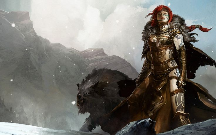 Red headed ranger with wolf animal companion | Dungeons
