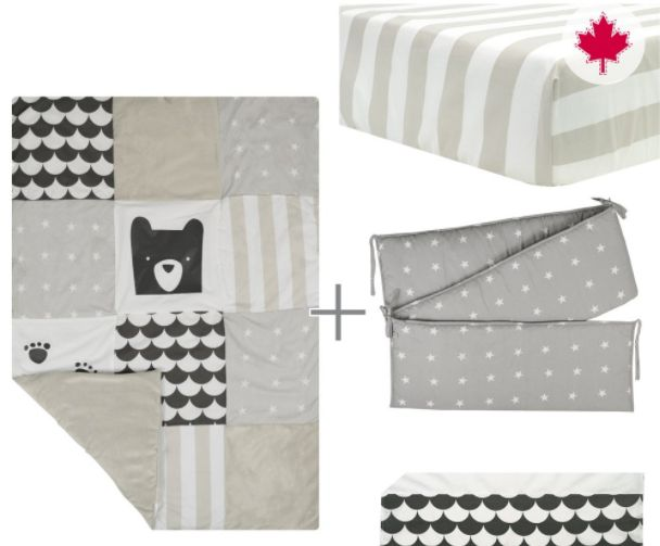 Baby's room will be so trendy thanks to this 4-pces baby bedding set! With its geomatrical patterns this set will give your nursery a contemporary look. Do you want to surprise the mom-to-be? Buy her this crib set for her baby shower! Expect 3 to 4 weeks for delivery