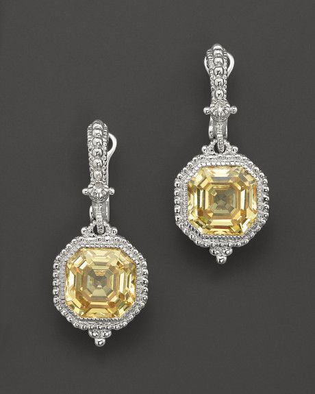 Judith Ripka Estate Ascher Cut Stone Earrings With Canary Crystal In