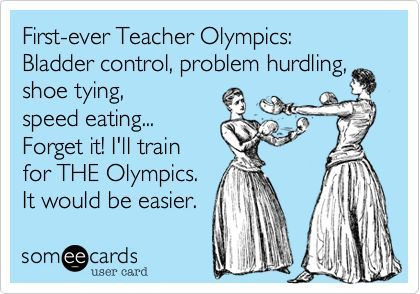Are the Olympics or teaching easier? #ImpactTeachers #lol #teaching #teachers #teacherhumour #job #mutlitasking #olympics #sport #eating #shoes #laces #children #students #pupils #youngpeople #bladder #problem: