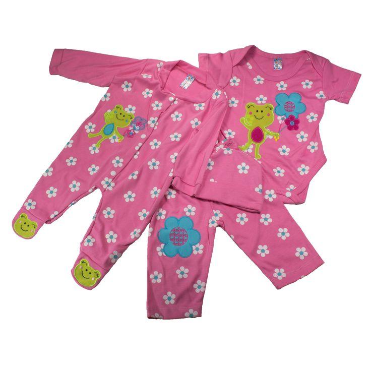 Hermoso conjunto con pijama para niña, que brinda confort a tu princesa. Contiene cuatro piezas como se muestra en la imagen. https://nibi-baby-store.pswebstore.com/pijamas/15-pijama-nina-tul-ranita.html