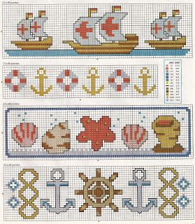 Nautical motifs - free cross stitch patterns