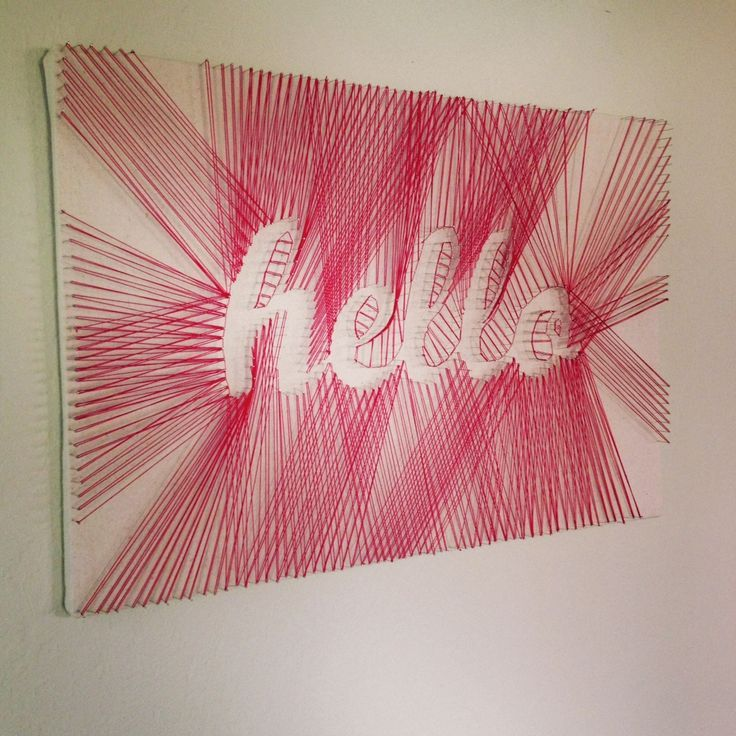 """We've made the @nauli logo with strings, and it came out awesome! Doing it the other way around would be obviously awesome, too!   """"Hello"""" DIY String Art – DIY Projects-Weekly DIY Ideas: RED DIY Projects"""